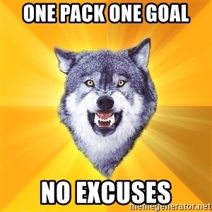 Courage Wolf - One Pack One Goal  No Excuses