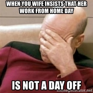 Face Palm - WHEN YOU WIFE INSISTS THAT HER WORK FROM HOME DAY IS NOT A DAY OFF