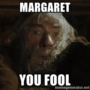 gandalf run you fools closeup - Margaret You fool