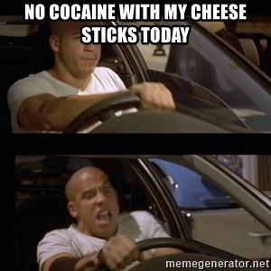 Vin Diesel Car - No cocaine with my cheese sticks today