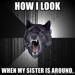 Insanity Wolf - how i look when my sister is around.