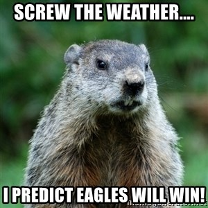 grumpy groundhog - Screw the Weather.... I predict Eagles will win!