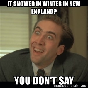 Nick Cage - It snowed in winter in New England? you don't say