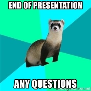 Obvious Question Ferret - End of presentation ANY QUESTIONS
