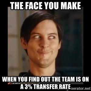 Tobey_Maguire - The face you make when You find out the team is on a 3% Transfer Rate