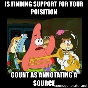 Patrick Star Instrument - Is finding support for your poisition count as annotating a source