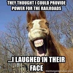 Horse - They thought i could provide power for the railroads ...i laughed in their face