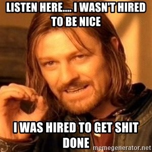 One Does Not Simply - Listen here.... I wasn't hired to be nice I was hired to get shit done