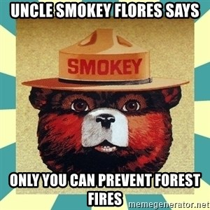 Smokey the Bear - Uncle smokey Flores says only you can prevent forest fires