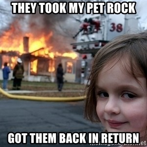 Disaster Girl - they took my pet rock got them back in return