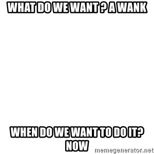 Blank Meme - What do we want ? A wank When do we want to do it? NOW
