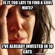 Crying lady - Is it too late to find a soul mate? I've already invested in 10 cats