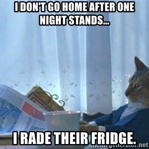 Sophisticated Cat - i don't go home after one night stands... i rade their fridge.