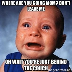 Crying Baby - WHERE ARE YOU GOING MOM? DON'T LEAVE ME OH WAIT YOU'RE JUST BEHIND THE COUCH
