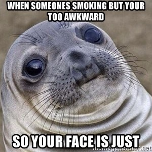 Awkward Seal - when someones smoking but your too awkward so your face is just