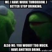 also me kermit - Me: I have work tomorrow. I better stop drinking. Also me: you worry too much. have another drink.