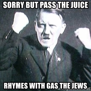Successful Hitler - Sorry but pass the juice Rhymes with gas the jews
