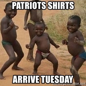 Dancing African Kid - Patriots shirts Arrive Tuesday