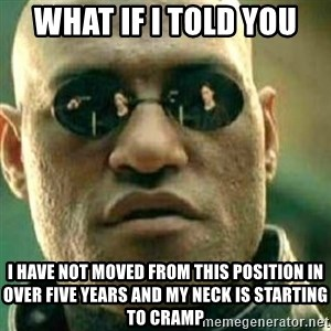 What If I Told You - What if I told you I have not moved from this position in over five years and my neck is starting to cramp