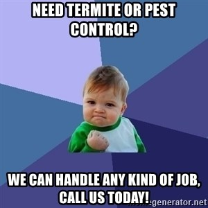 Success Kid - Need Termite or Pest Control? We can handle any kind of job, call us today!