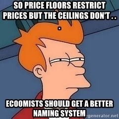 Fry squint - So price floors restrict prices but the ceilings don't . . .   Ecoomists should get a better naming system