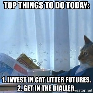 newspaper cat realization - TOP THINGS TO DO TODAY:  1. Invest in Cat Litter Futures. 2. Get in the dialler.