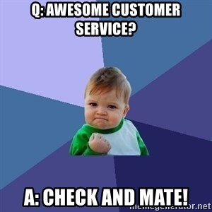 Success Kid - Q: Awesome customer service? A: Check and mate!