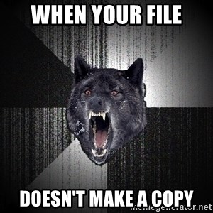 Insanity Wolf - when your file doesn't make a copy