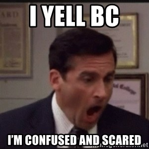 michael scott yelling NO - I yell bc  I'm confused and scared