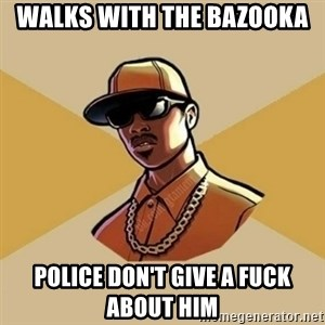Gta Player - walks with the bazooka police don't give a fuck about him