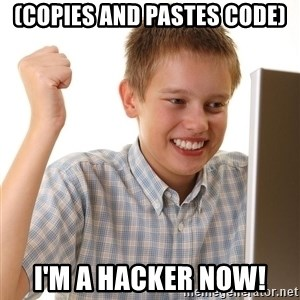 First Day on the internet kid - (Copies and pastes code) I'm a hacker now!