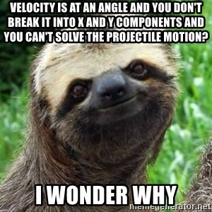 Sarcastic Sloth - velocity is at an angle and you don't break it into x and y components and you can't solve the projectile motion? i wonder why