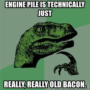 Raptor - Engine pile is technically just Really, really old bacon.