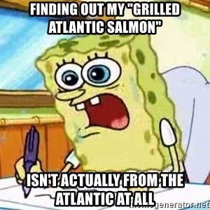 "Spongebob What I Learned In Boating School Is - Finding out my ""Grilled Atlantic Salmon"" isn't actually from the atlantic at all"