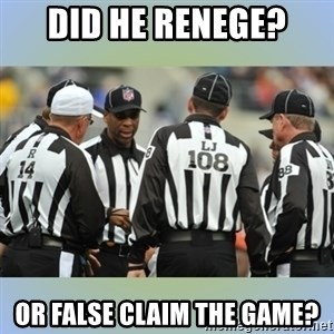 NFL Ref Meeting - did he renege? Or false claim the game?