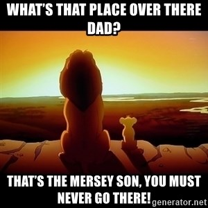 Simba - What's that place over there Dad? That's the Mersey son, you must never go there!
