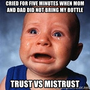 Crying Baby - Cried for five minutes when mom and dad did not bring my bottle TRUST VS MISTRUST