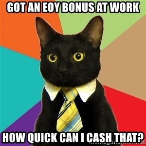 Business Cat - Got an EOY Bonus at Work How Quick Can I Cash That?