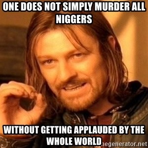 One Does Not Simply - one does not simply murder all niggers  without getting applauded by the whole world