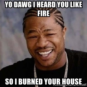 Yo Dawg - Yo dawg i heard you like fire so i burned your house