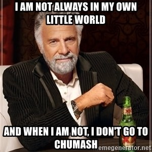 The Most Interesting Man In The World - I am not always in my own little world and when I am not, I don't go to Chumash