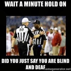 Replacement Ref - Wait a minute hold on Did you just say you are blind and deaf