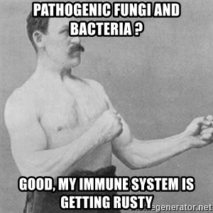 overly manly man - pathogenic fungi and bacteria ? Good, My immune system is getting rusty