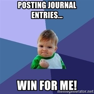 Success Kid - posting journal entries... win for me!