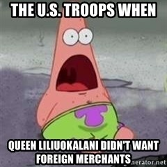 D Face Patrick - The U.S. Troops when  Queen Liliuokalani didn't want foreign merchants
