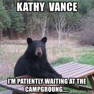 Patient Bear - Kathy  Vance I'm patiently waiting at the campgroung.....