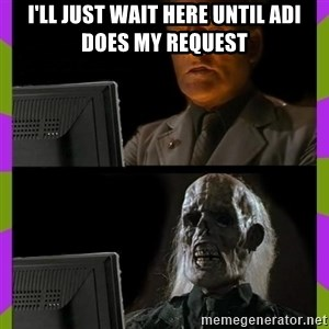 ill just wait here - I'll just wait here until Adi does my request
