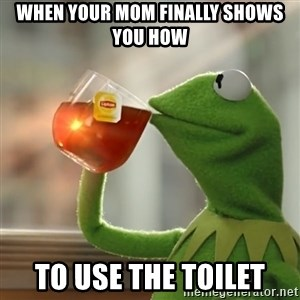 Kermit The Frog Drinking Tea - when your mom finally shows you how  to use the toilet
