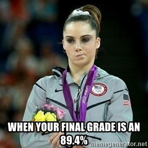 McKayla Maroney Not Impressed - When your final grade is an 89.4%
