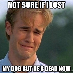 Crying Man - not sure if i lost my dog but he's dead now